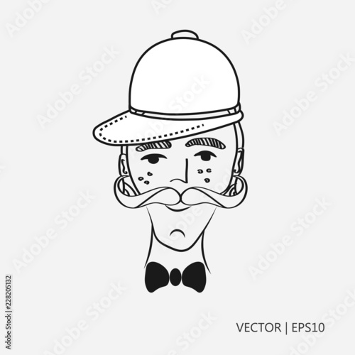 Vector illustration: Old man with a mustache. Gentleman in a ...