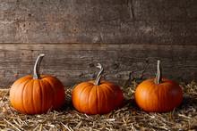 Orange Halloween Pumpkins In Dark Old Barn, Space For Texting
