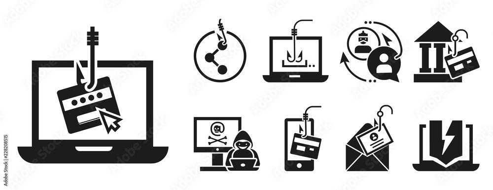Fototapeta Phishing icon set. Simple set of phishing vector icons for web design on white background