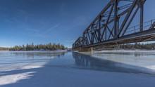 Steel Truss Bridge At Exshaw