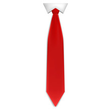 Red Tie Icon. Realistic Illustration Of Red Tie Vector Icon For Web Design Isolated On White Background