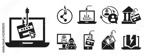 Fotomural Phishing icon set
