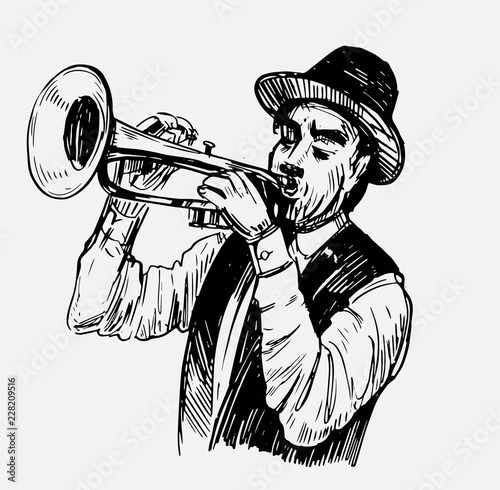 Tuinposter Art Studio Sketch of trumpeter. Jazz musican. Hand drawn sketch converted to vector