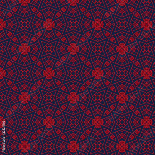 Intricate Bright Red Geometric Repeating Pattern Over Dark