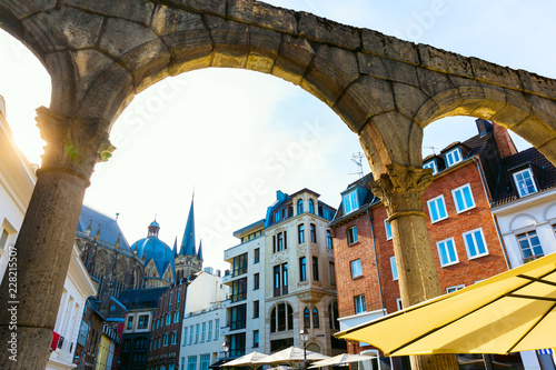 view through the rests of the Roman Portikus in the old town of Aachen, Germany Wallpaper Mural