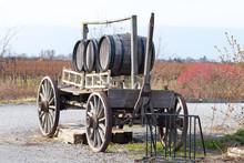 Wooden Cart With Barrels
