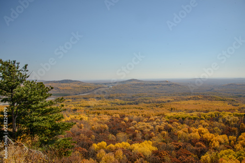 Keuken foto achterwand Grijze traf. the mountain autumn landscape with colorful forest