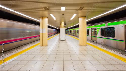 Obraz na płótnie Osoby dojeżdżające do pracy i pociągi na stacji metra w Tokio
