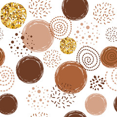 Fototapeta Kawa Coffee pattern abstract seamless vector brown pattern with hand drawn round elements
