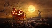 Halloween Pumpkins On Farm Wag...