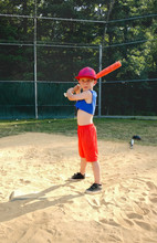Boy Taking Baseball Batting Pr...