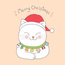 Cartoon Cute Christmas  Cat Sleeping Vector.