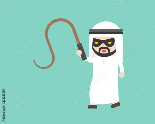 Fototapeta Arab Businessman with mask and whip, ready to use character