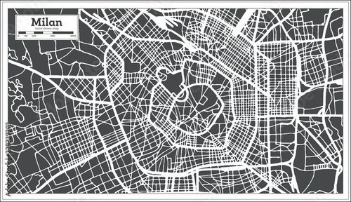 Fotografía Milan Italy City Map in Retro Style. Outline Map.