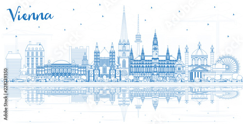 fototapeta na drzwi i meble Outline Vienna Austria City Skyline with Blue Buildings and Reflections.