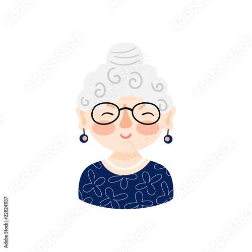 Obraz na plátne Illustration with grandmother face