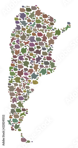Foto  Mosaic map of Argentina designed with colored flat stones