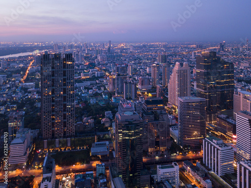 Fototapety, obrazy: Aerial view of Chong Nonsi, Sathorn, Bangkok Downtown. Financial district and business centers in smart urban city in Asia. Skyscraper and high-rise buildings at night.
