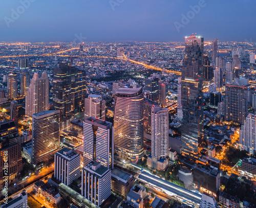 Aerial view of Chong Nonsi, Sathorn, Bangkok Downtown Wallpaper Mural