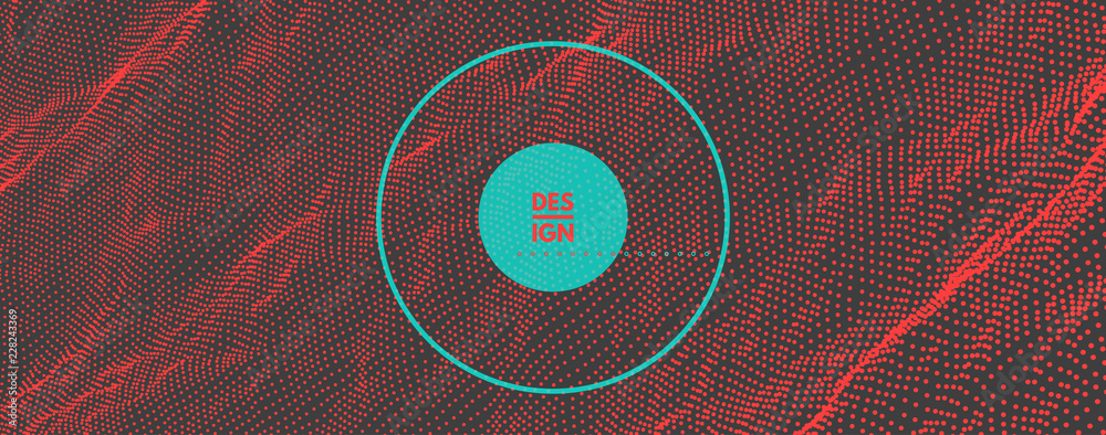 Fototapeta Trendy abstract background. Array with dynamic particles. Modern science or technology element. Cyberspace grid illustration. Vector composition.