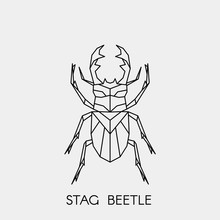 Geometric Stag Beetle. Polygon...