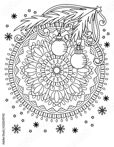 Christmas mandala coloring page. Adult coloring book. Holiday decore ...