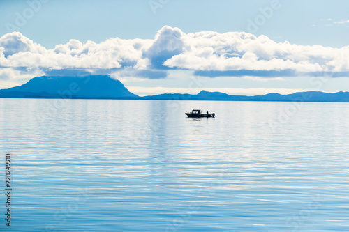 Spoed Foto op Canvas Verenigde Staten Alaska scenery tranquil scene in the morning - fisherman boat on Arctic sea in Ketchikan, USA travel in summer.