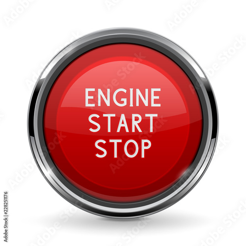 Engine Start Stop Button With Chrome Frame Red Car Dashboard