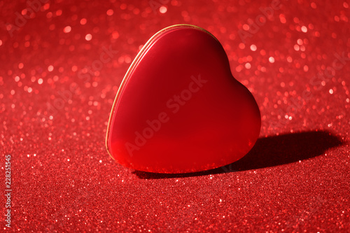 Christmas New Year Valentine Day Red Heart Box Glitter