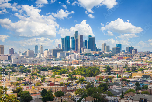 Los Angeles, California, USA downtown cityscape at cloudy day