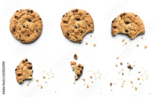 Foto auf Gartenposter Kekse Steps of chocolate chip cookie being devoured. Isolated on white background.