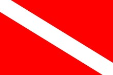 International Scuba Diving Flag Signaling Diver Is Underwater