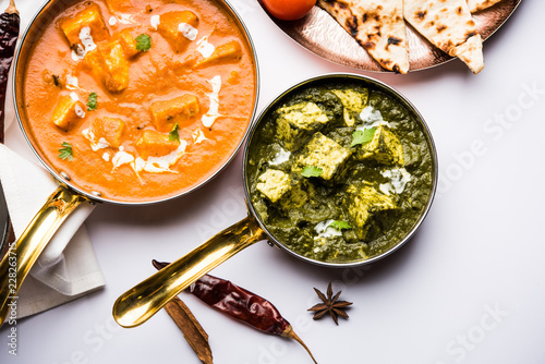 Fototapeta Indian Lunch / Dinner main course food in group includes Paneer Butter Masala, D