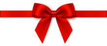 Decorative Red Bow With Horizontal Ribbon For Gift Decor. Holiday Decoration. Vector Bow And Ribbon Isolated On White