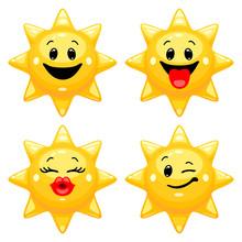 Vector Set Of Sun Emoticons. C...