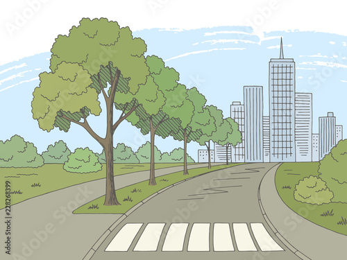 Foto Street road graphic color city landscape sketch illustration vector