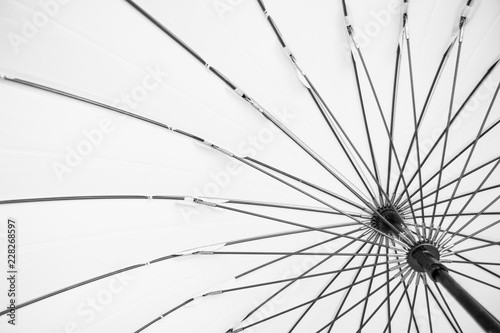 Fototapety, obrazy: Bright black and white detail of umbrella frame. Background concept