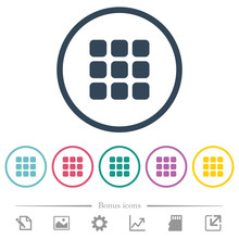 Small Thumbnail View Mode Flat Color Icons In Round Outlines