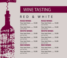 Vector Menu For Wine Tasting With Price List And Bottle With Corkscrew With Wooden Board Texture On Beige Background