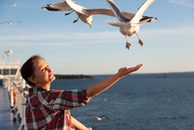 Older Woman Feeding Seagulls. ...