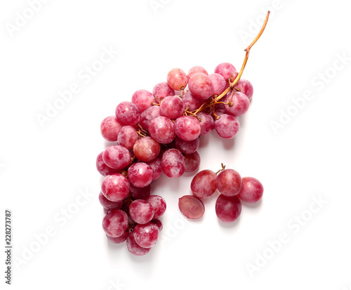Ripe grapes on white background Canvas Print