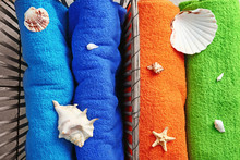 Bright Terry Towels With Seashells, Top View