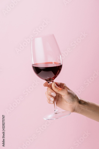 Fototapeta cropped shot of woman holding glass of red wine isolated on pink obraz