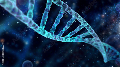 Fotografia  Spectacular background with DNA molecule with depth of field