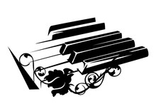 Piano Keyboard And Rose Flower...