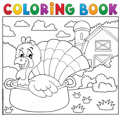Coloring book turkey bird in pan theme 2