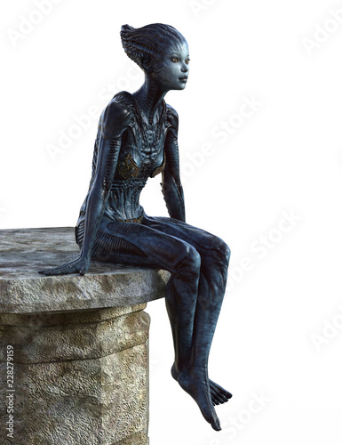 Photo Female Alien creature sitting on a stone platform isolated on white 3d render