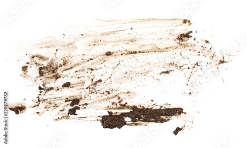 Fotomural  Wet mud, stains texture isolated on white background, top view