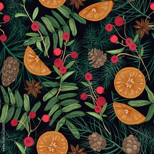 Holiday seamless pattern with pine and spruce tree branches, needles and cones, rowan berries and cranberries, oranges, star anise on black background. Festive vector illustration for fabric print.