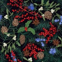 Elegant Seamless Pattern With Winter Seasonal Plants, Coniferous Tree Branches And Cones, Berries And Leaves On Black Background. Christmas Vector Illustration In Antique Style For Textile Print.